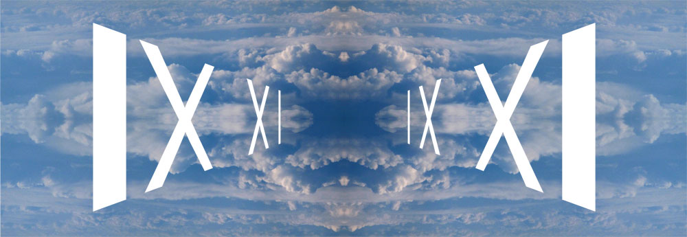 Blue Panoramic Symetrical Sky Inscribed in White IX XI