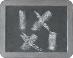IX XI BLACK BOARD AND CHALK